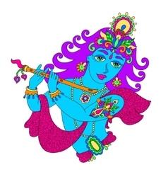 god lord Krishna for Janmashtami festival vector image