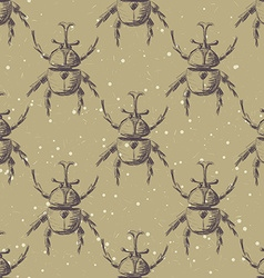 Hand drawn Sketch Beetles Seamless Pattern vector image