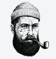hand drawn vintage hipster sailor with thick beard vector image vector image