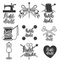 hand made set of hand made tailors emblems vector image vector image