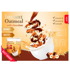 instant oatmeal with chocolate and hazelnut vector image vector image