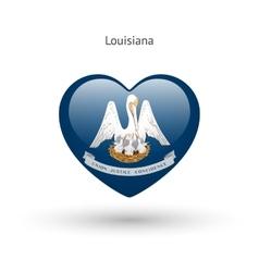 Love louisiana state symbol heart flag icon vector