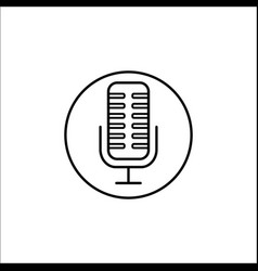 microphone line icon mobile sign and sound vector image