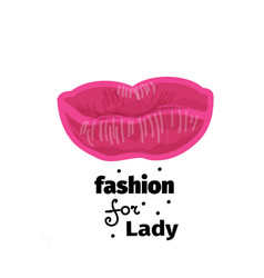 pink lips for print logo vector image