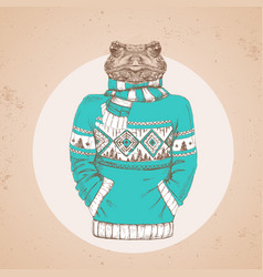 Retro hipster animal frog dressed in pullover vector