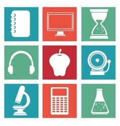 school icons supplies design vector image