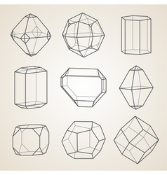 Set of geometric crystals geometric shapes vector