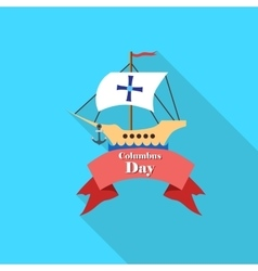 Ship and ribbon of columbus day icon flat style vector