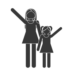 Silhouette family mother and daughter funny vector