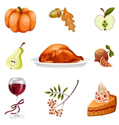 Thanksgiving elements isolated vector