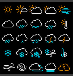 Thin line weather icon set vector