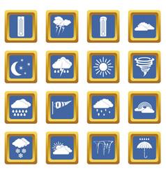 Weather set icons set blue vector