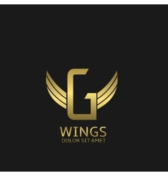Wings G letter logo vector image vector image