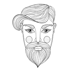 Xentangle portrait of man face with vector