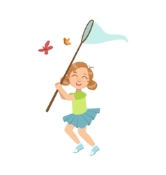 Girl catching butterflies with net vector