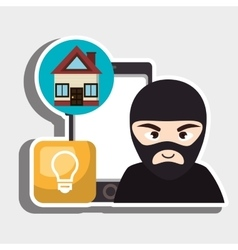 Hacker criminal information icon vector