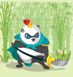 Warrior armor china panda character vector