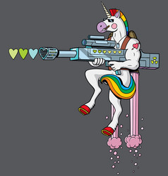 Unicorn soldier vector