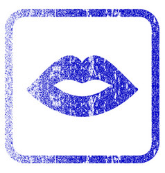 lips framed textured icon vector image