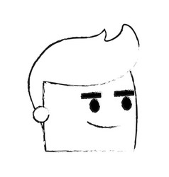 Blurred silhouette image side view face cartoon vector
