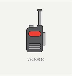 Line flat color military icon - radio set vector