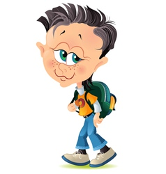 Isolated cartoon little boy with school backpack vector