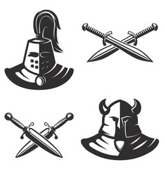 Knight emblems template with swords isolated on vector