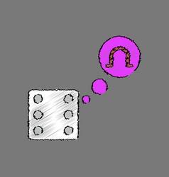 flat shading style icon dice and horseshoe vector image