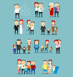 Family activity cartoon character set design vector