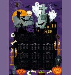 Halloween holiday year calendar template design vector