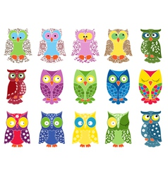 Set of fifteen colourful owls vector