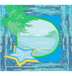 Tropical beach landscape - abstract grunge vector