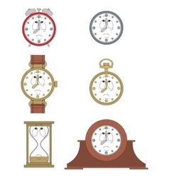 Cartoon unhappy clock face smiles 08 vector