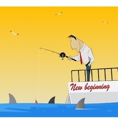Fishing for dollars vector
