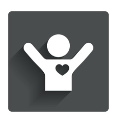 Fans love icon man raised hands up sign vector