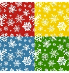 Set of four colour modern winter seamless patterns vector