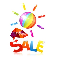 Summer sale with colorful sun and title on white vector