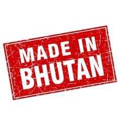 Bhutan red square grunge made in stamp vector