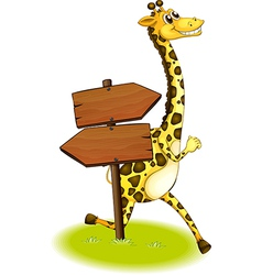 A giraffe running at the back of a wooden arrow vector image vector image