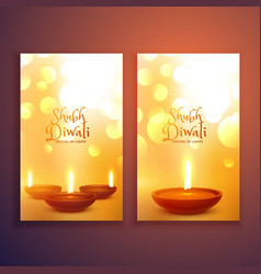Beautiful set of happy diwali greeting card flyers vector