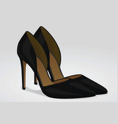 Black woman shoes with heels vector