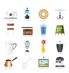 cafe and coffeehouse icons vector image vector image