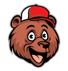 cartoon cheerful bear head wearing a baseball cap vector image vector image