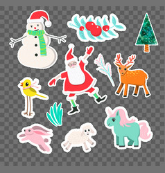 cartoon style christmas stickers vector image vector image