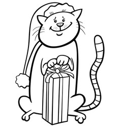 Cat on christmas cartoon coloring book vector