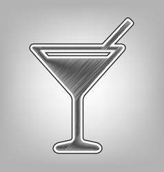 Cocktail sign pencil sketch vector