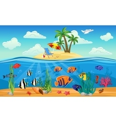 Colored Underwater World Composition vector image