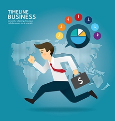 Concept of successful Timeline businessman cartoon vector image vector image