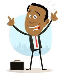 Cool happy african businessman vector