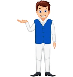 cute waiter man cartoon posing vector image vector image